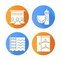 Wohnung Annehmlichkeiten flaches Design lange Schatten Glyphe Icons Set vektor