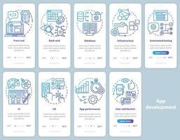Anwendungsentwicklung Onboarding Mobile App-Seite Bildschirmvektorvorlage vektor