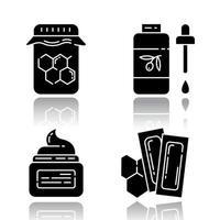 natürliches Wachsen Schlagschatten schwarze Glyphe Icons Set vektor