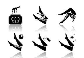 Shin Waxing Schlagschatten schwarze Glyphe Icons Set vektor