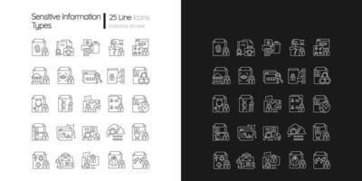 Lineare Symbole für sensible Informationstypen, die für den dunklen und hellen Modus festgelegt sind vektor