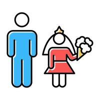 Kinderheirat Farbsymbole gesetzt vektor