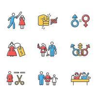 Farbsymbole für die Gleichstellung der Geschlechter gesetzt vektor