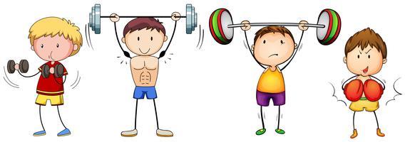 Många människor gör tyngdlyftning