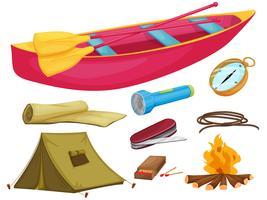 olika camping objekt vektor