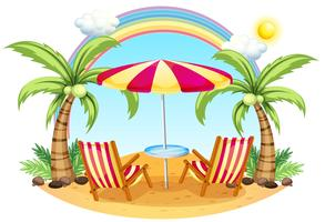 Ein Strand mit Sonnenschirm und Stühlen
