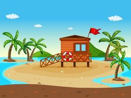 Livräddare hus på stranden vektor