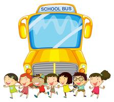 Barn och skolbuss vektor
