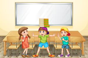 Barn leker i klassrummet vektor