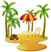 Strandszene mit Esstisch und Bäumen