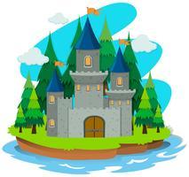 Schlossgebäude auf der Insel vektor