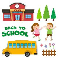 Tillbaka till skolan med barn och skola vektor