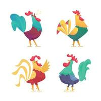Hahn Cartoon Hühnerfarm männliche Vögel mit farbigen Federn vektor