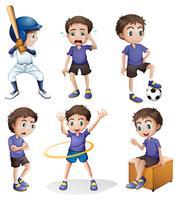 Olika aktiviteter hos en ung pojke vektor