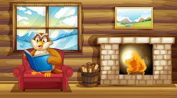 En uggla som läser en bok bredvid en eldstad