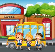 Schüler und Schulbus an der Schule vektor
