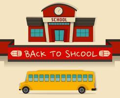 Zurück zum Schulmotiv mit Schulbus