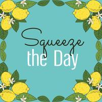 Tropische Zitrusfruchtzitrone trägt helle Sommerkarte Früchte. Plakat mit Zitronen, grünen Blättern und Blumen auf Türkisblau. Bunter Hintergrund des Sommers