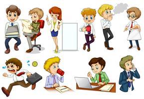 Affärsinriktade människor engagerar sig i olika aktiviteter