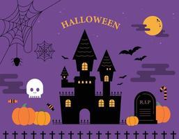 Halloween-Karte. niedliche Schlosssilhouette auf lila Hintergrund und Halloween-Kürbiseinzelteilen um sie herum. flache Design-Stil-Vektor-Illustration. vektor