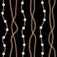 Nahtloser Musterhintergrund mit goldener metallischer Halskette der Birnen und der Ketten. Auf schwarz. Vektor-Illustration