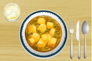 Indisk mat på ett träbord