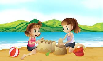 Två vänner gör ett slott på stranden vektor