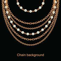 Bakgrund med päron och kedjor guld metalliskt halsband. På svart vektor