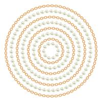 Rundes Muster mit goldenen Ketten und Perlen. Auf weiß. Vektor-Illustration