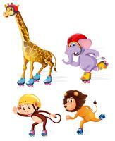 Grupp idrottare djur skridskoåkning vektor
