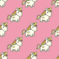 Seamless mönster med enhörning i kawaii japansk stil isolerad på rosa bakgrund.