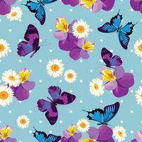 Blommigt sömlöst mönsterFloral sömlöst mönster. Pansies med kamomiler på blå polka dot bakgrund. Vektor illustration