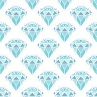 Nahtloses Muster von geometrischen blauen Diamanten auf weißem Hintergrund. Trendy Hipster Kristalle Design. vektor