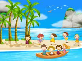 Barn och strand