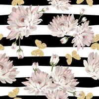 Nahtloses mit Blumenmuster mit funkelnden Schmetterlingen