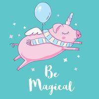 Süßes Schwein als Pegasus und Einhorn. Isoliert auf weiß vektor