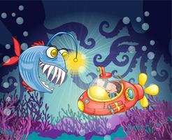 Monsterfisch und U-Boot vektor