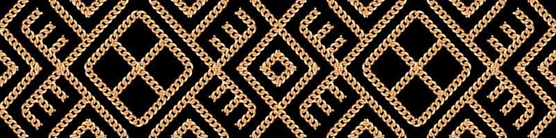 Seamless mönster av guld kedja geometrisk prydnad på svart bakgrund. Vektor illustration