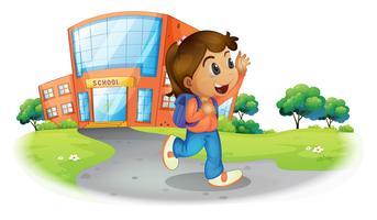 Ein Mädchen geht von der Schule nach Hause