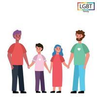 LGBT-Familie zwei Väter, Tochter und Sohn - Vektor