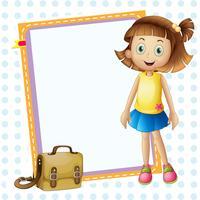 ein Mädchen und Board mit Tasche