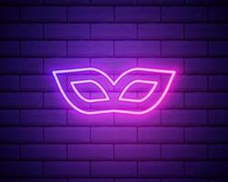 Karnevalsmaske auf den Augen. neonrosa Kontur auf einem Backsteinmauerhintergrund. Vektor-Illustration vektor