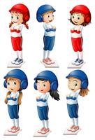 Sechs Baseballspieler vektor
