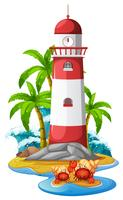 Leuchtturm und Einsiedlerkrebse am Strand