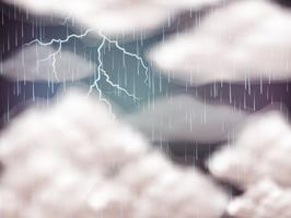 Sky bakgrund med blixt och regn