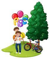 Fader och son med ballonger i parken vektor