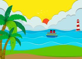 Ocean scen med strand och båt vektor