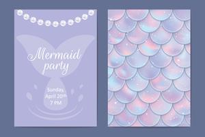 Partyinbjudan. Holografiska fisk- eller sjöjungfruskalor, pärlor och ramar. Vektor illustration