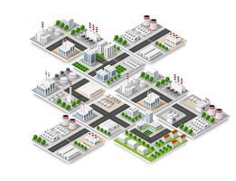 Isometrisches Konzept der Stadt des städtischen Infrastrukturgeschäfts