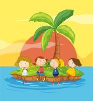 Barn på en ö vektor
